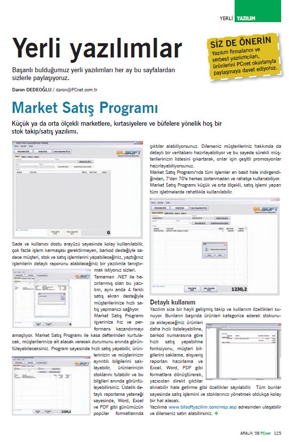 PCnet Aralık - Market Satış Programı